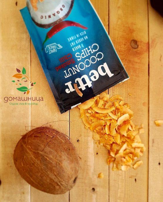 Кокосов чипс с чили органичен 70гр
