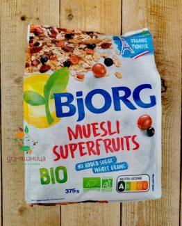 Мюсли със супер плодове био 375гр Bjorg