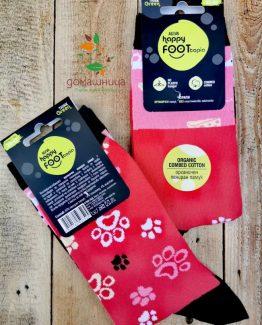 Чорапи органичен памук Розови лапи Happy Foottopia
